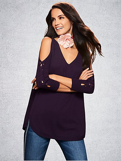 Cold-Shoulder Lace-Up Sleeve Sweater - New York & Company