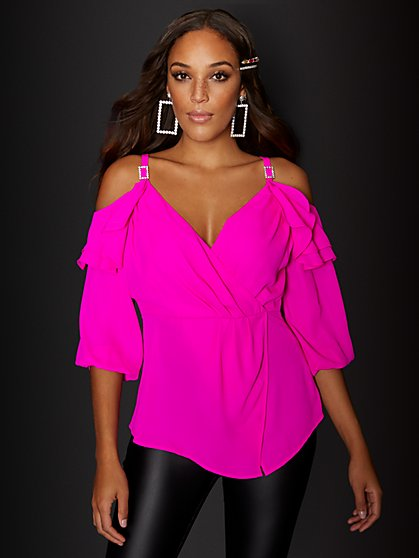 Cold-Shoulder Peplum Top - 7th Avenue - New York & Company