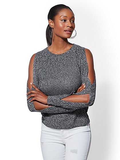 Cold-Shoulder Textured Sweater - New York & Company