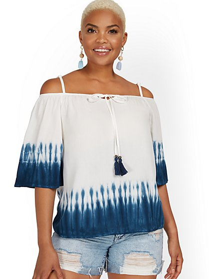 Cold-Shoulder Tie-Dye Ombre Top - New York & Company