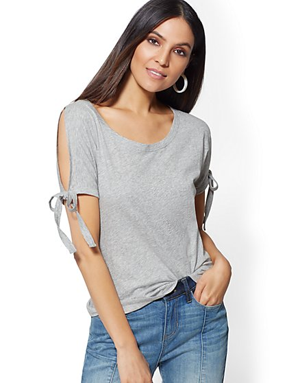 Cold-Shoulder Tie-Sleeve Tee - New York & Company