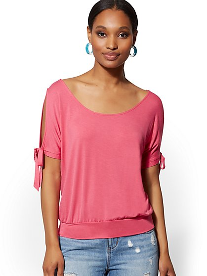 Cold-Shoulder Tie-Sleeve Top - Soho Soft Tee - New York & Company