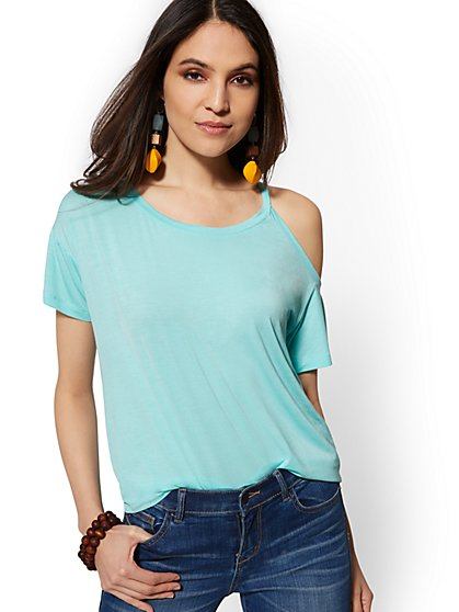Cold-Shoulder Top - Soho Soft Tee - New York & Company