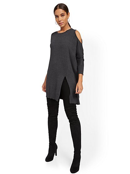 Cold-Shoulder Tunic Sweater - New York & Company