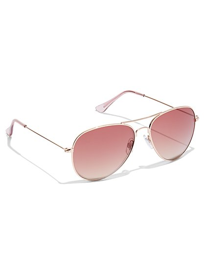Color Lens Aviator Sunglasses - New York & Company