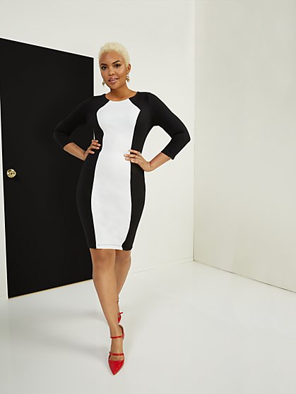 Colorblock 3/4-Sleeve Sheath Ponte Dress - Superflex - New York & Company