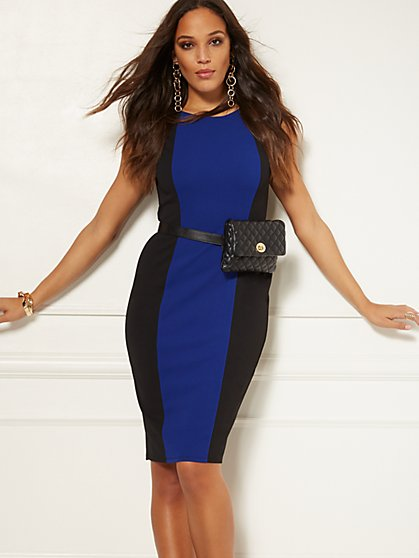 Colorblock Belted Sheath Dress - Magic Crepe - 7th Avenue - New York & Company