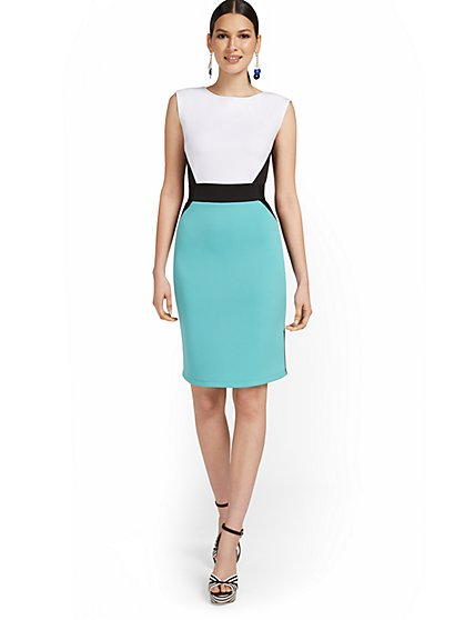 Colorblock Belted Sheath Dress - New York & Company