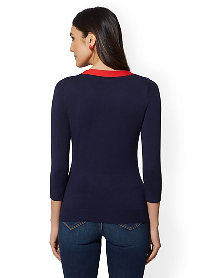 401dc2b0af ... Colorblock-Bow Sweater - New York   Company ...