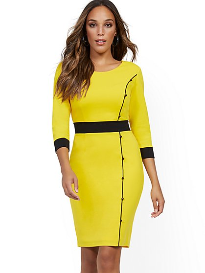 Colorblock Button-Accent Sheath Dress - Magic Crepe® - New York & Company