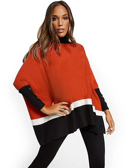 Colorblock Button-Accent Turtleneck Dolman Sweater - New York & Company