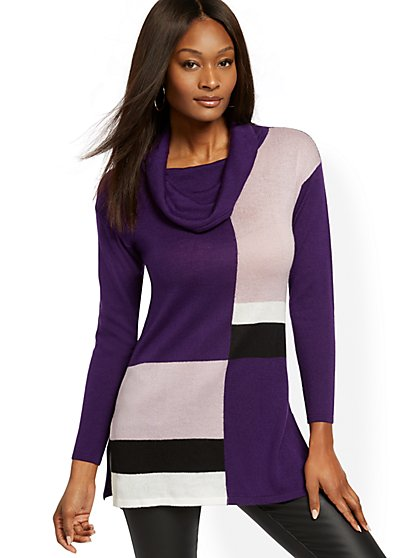 Colorblock Cowl-Neck Tunic Sweater - New York & Company