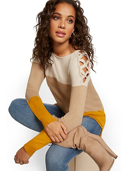 Colorblock Crisscross Hi-Lo Tunic Sweater - New York & Company