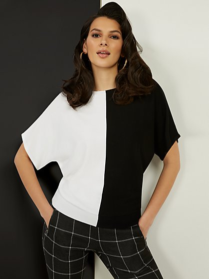 Colorblock Dolman-Sleeve Sweater - New York & Company
