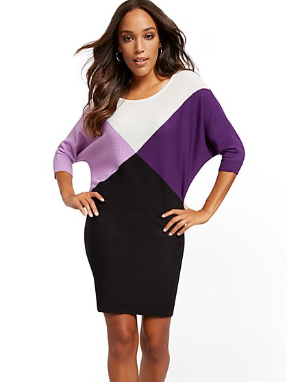 Colorblock Dolman Sweater Dress - New York & Company