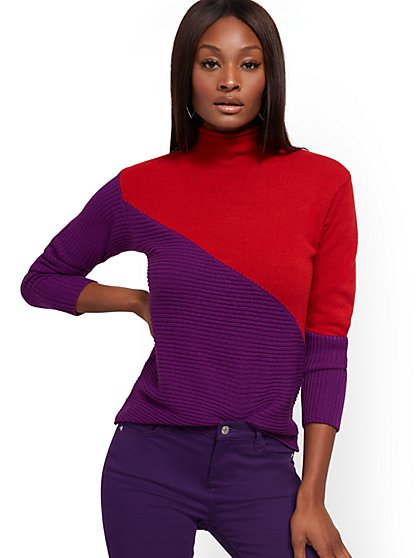 Colorblock Funnel-Neck Sweater - New York & Company