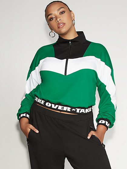 Colorblock Half-Zip Sweatshirt - Gabrielle Union Collection - New York & Company