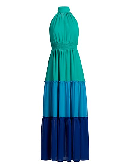 Colorblock Halter Maxi Dress - New York & Company