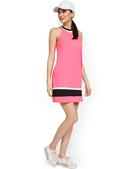 Colorblock Halter Shift Dress - City Knits - New York & Company
