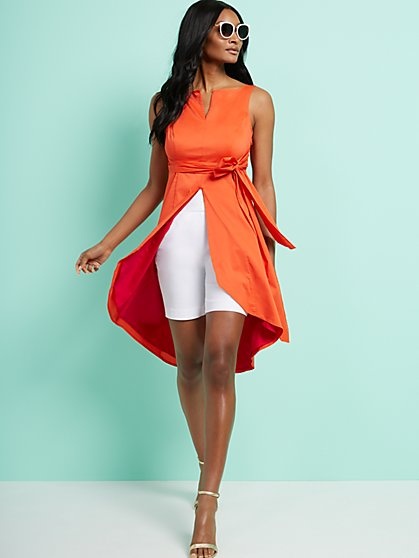Colorblock Hi-Lo Poplin Maxi Shirt - 7th Avenue - New York & Company