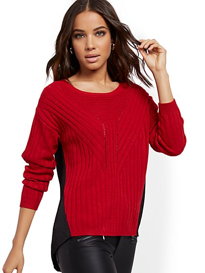 Colorblock Hi-Lo Sweater - New York & Company