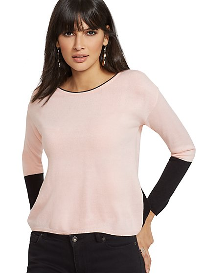 Colorblock Hi-Lo Zip-Back Sweater - New York & Company
