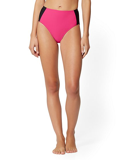 Colorblock High-Waist Bikini Bottom - NY&C Swimwear - New York & Company
