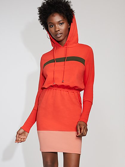 Colorblock Hooded Sweatshirt Dress - Gabrielle Union Collection - New York & Company