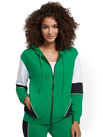 Colorblock Hooded Zip-Front Jacket - New York & Company