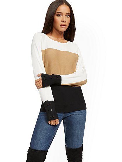 Colorblock Lace-Up Cuff Dolman Sweater - New York & Company