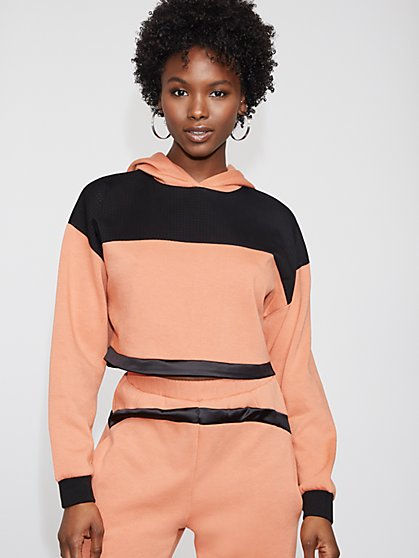 Colorblock Mesh-Trim Hooded Top - Gabrielle Union Collection - New York & Company