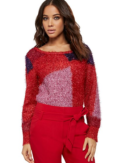 Colorblock Metallic Fuzzy Sweater - New York & Company