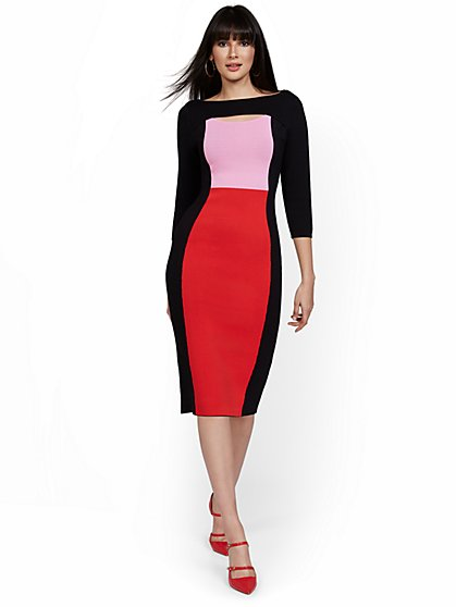 Colorblock Midi Dress - New York & Company