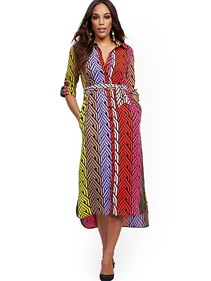 Colorblock Midi Shirtdress - New York & Company