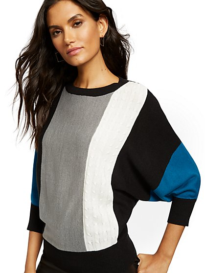 Colorblock Mixed-Knit Dolman Sweater - New York & Company
