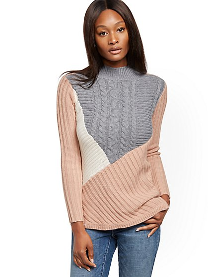 Colorblock Mock-Neck Sweater - New York & Company