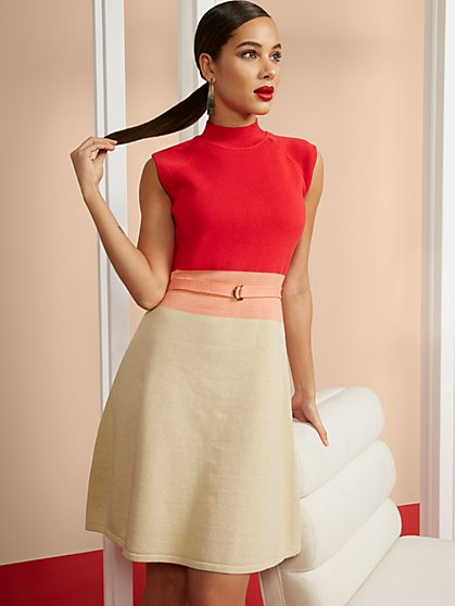 Colorblock Mockneck Sweater Dress - New York & Company