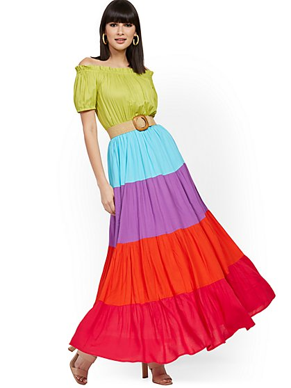 Colorblock Off-The-Shoulder Maxi Dress - New York & Company