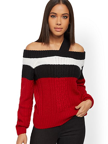 Colorblock Off-The-Shoulder Sweater - New York & Company