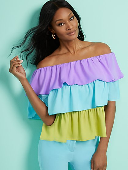 Colorblock Off-The-Shoulder Top - New York & Company
