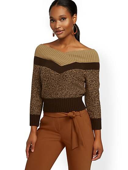 Colorblock On/Off-The-Shoulder Sweater - 7th Avenue - New York & Company