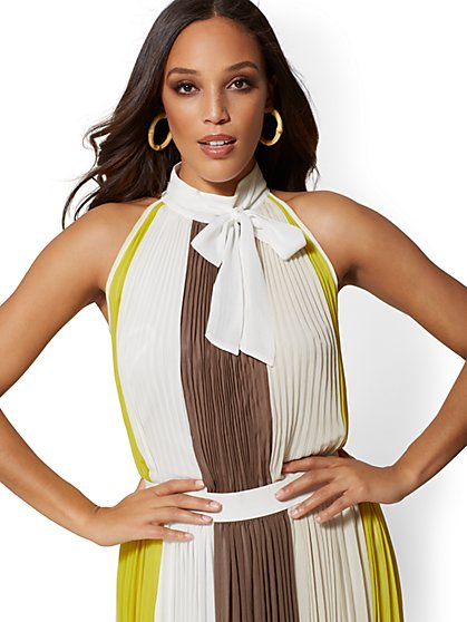 Colorblock Pleated Halter Blouse - New York & Company