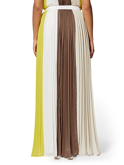 6291bd06654d ... Colorblock Pleated Skirt - 7th Avenue - New York & Company