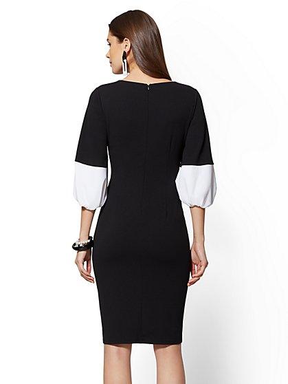 04c56966a3 ... Colorblock Scuba Crepe Sheath Dress - Magic Crepe - 7th Avenue - New  York   Company ...