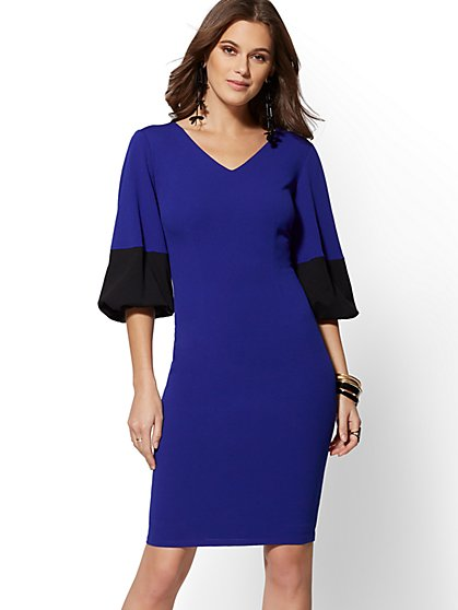 Colorblock Scuba Crepe Sheath Dress - Magic Crepe - 7th Avenue - New York & Company