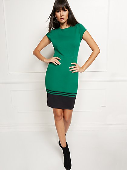 Colorblock Sheath Dress - Lightweight Ponte - New York & Company