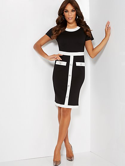 Colorblock Sheath Dress - Super Flex - New York & Company