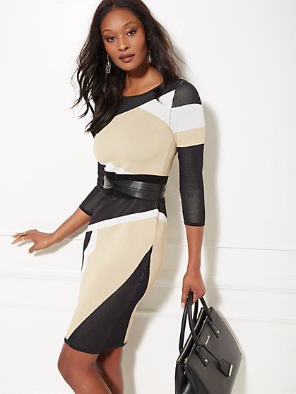 Colorblock Sheath Sweater Dress - 7th Avenue - New York & Company