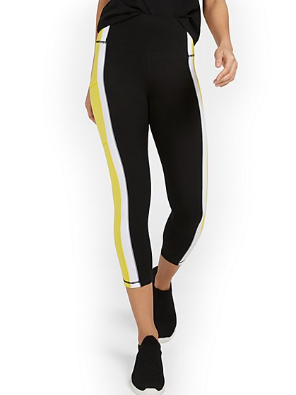 Colorblock Side-Pocket Capri Legging - New York & Company