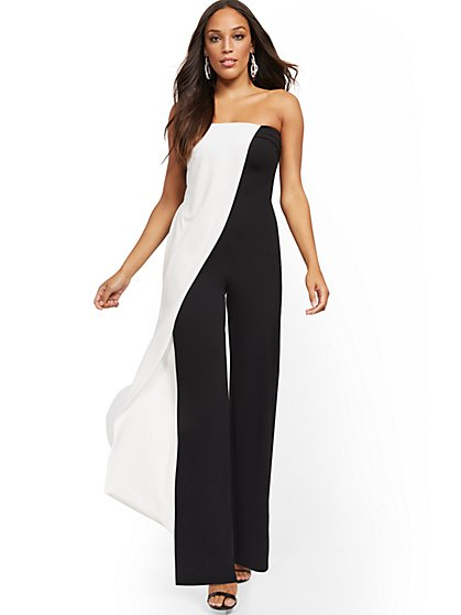 Colorblock Strapless Jumpsuit - Magic Crepe® - New York & Company